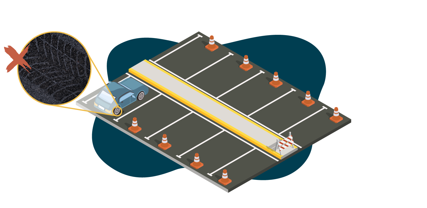 Illustration of freshly paved parking lot with cones preventing traffic and a car inappropriately parked before the asphalt cured leaving a tire mark