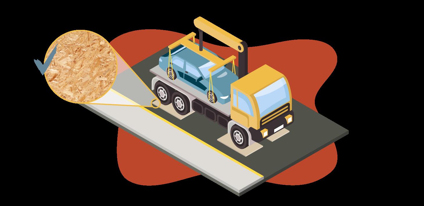 Illustration of large truck resting on plywood to prevent damaging new asphalt pavement