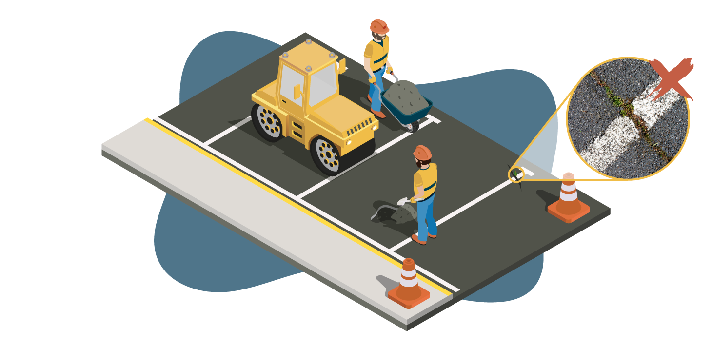 Illustration of two men repairing potholes in an asphalt parking lot with grass growing in cracks
